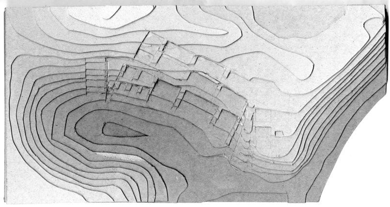 topographic study model, with cut and fill