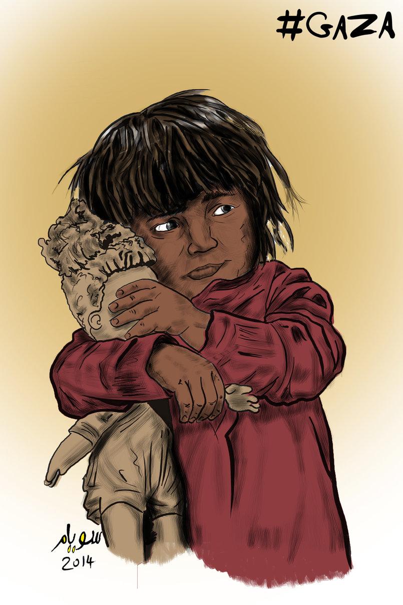أطفال تحت القصف - منشور على بوابة فيتو الإخبارية يوليو 2014