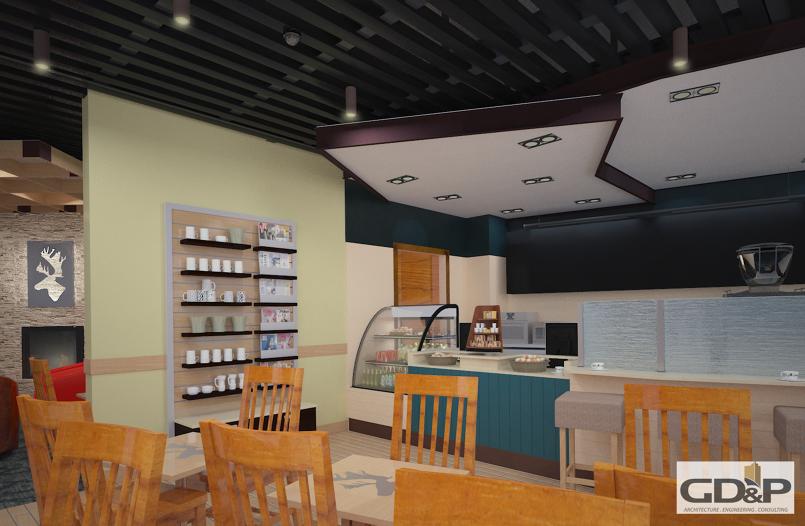 Caribou coffee interior & exterior design