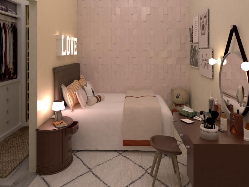 تصميم غرفة نوم كبيرة عبر برنامج الاسكتش أب