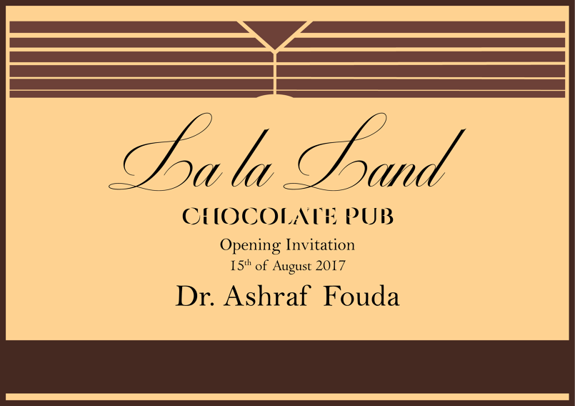 La la Land Chocolate Pub Opening Invitation