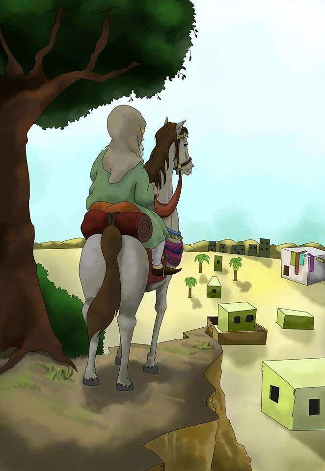 رجل عربي يركب حصان