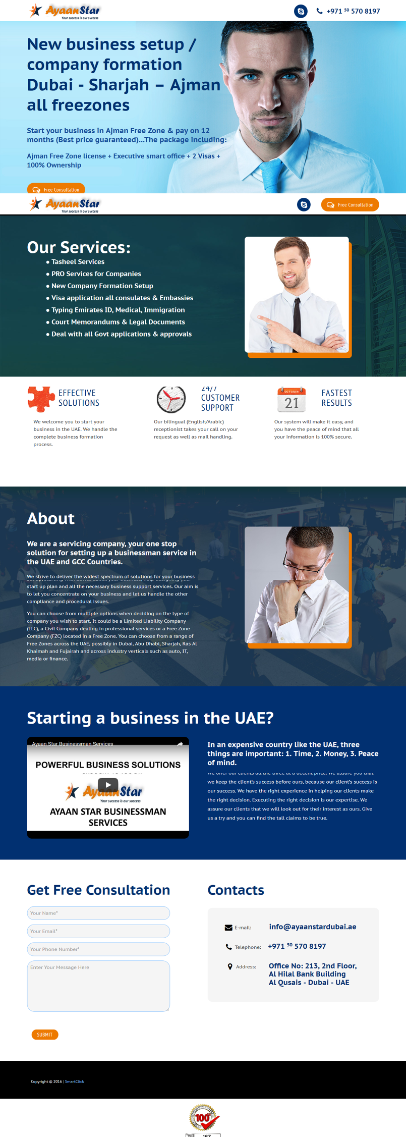 Ayaan Star Landing page - Business man services