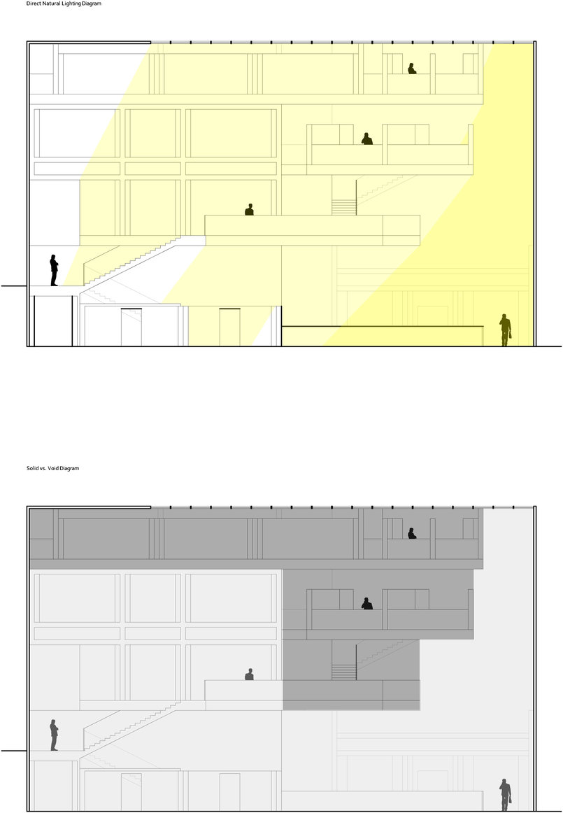 Direct Light and Solid vs. Void Diagrams (top and bottom respectively) - Autocad & Adobe Photoshop