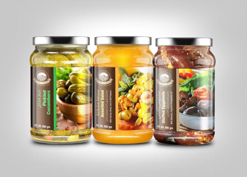 Pickles, Salad & Makdous Jar Labels Designs