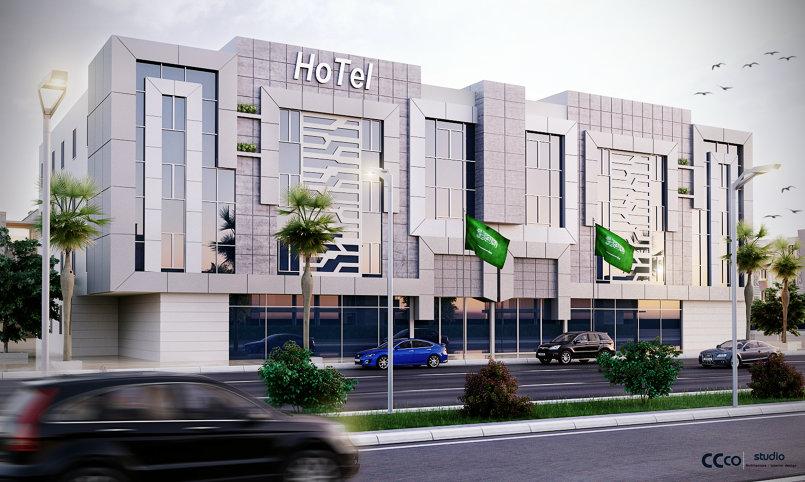 تصميم لواجهه مبني فندقي في السعوديه