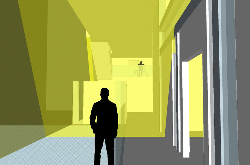 View from entrance - Google Sketchup & Adobe Photoshop