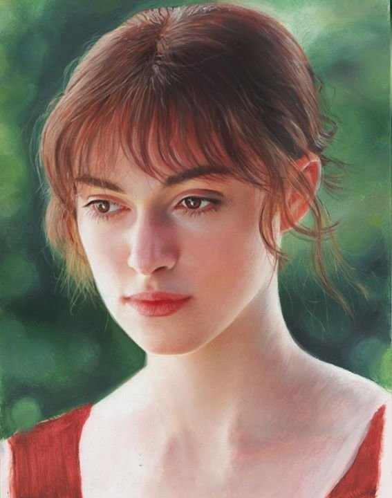 keira-knightley oil painting on paper