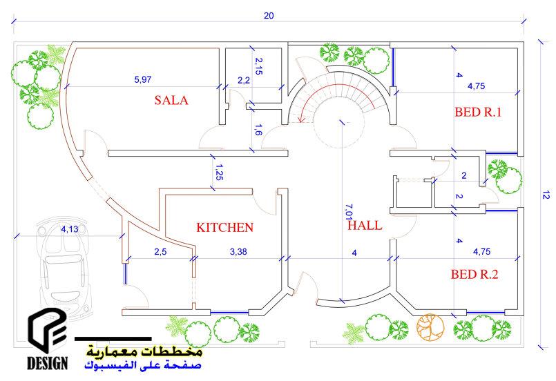 مخطط منزل 12*20