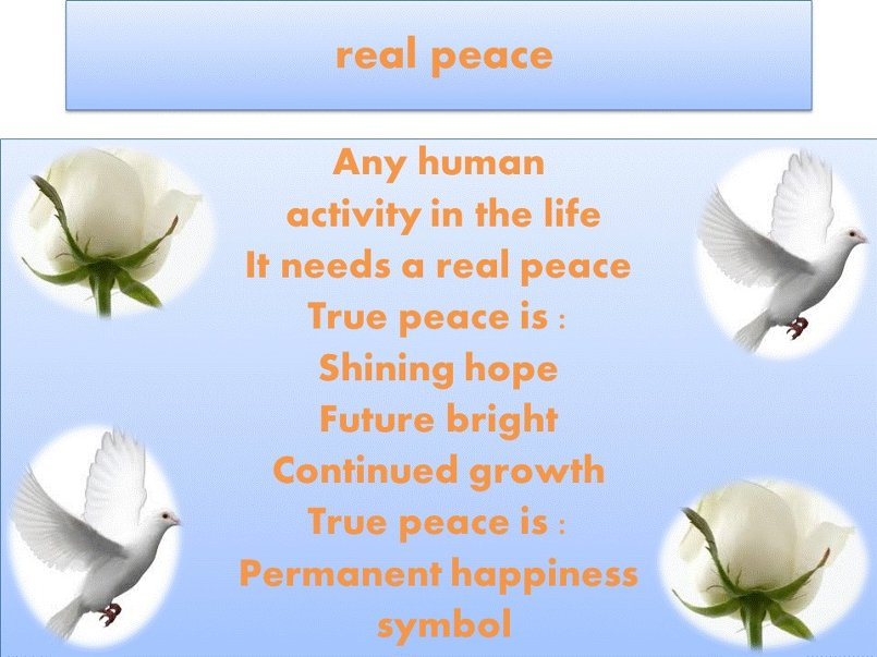 real peace  = humanity