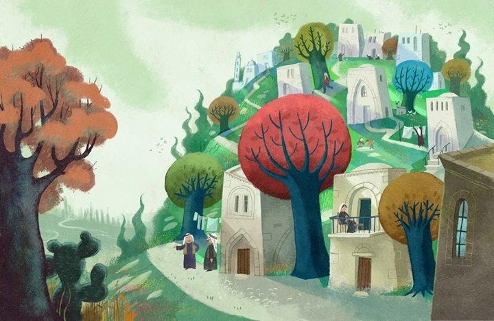اللوحةالأولى من الكتاب تخيل لقرية لفتا قضاء القدس , جبل المشارف و وادي الجوز , و هي من القرى الفلسطينية المهجرة .