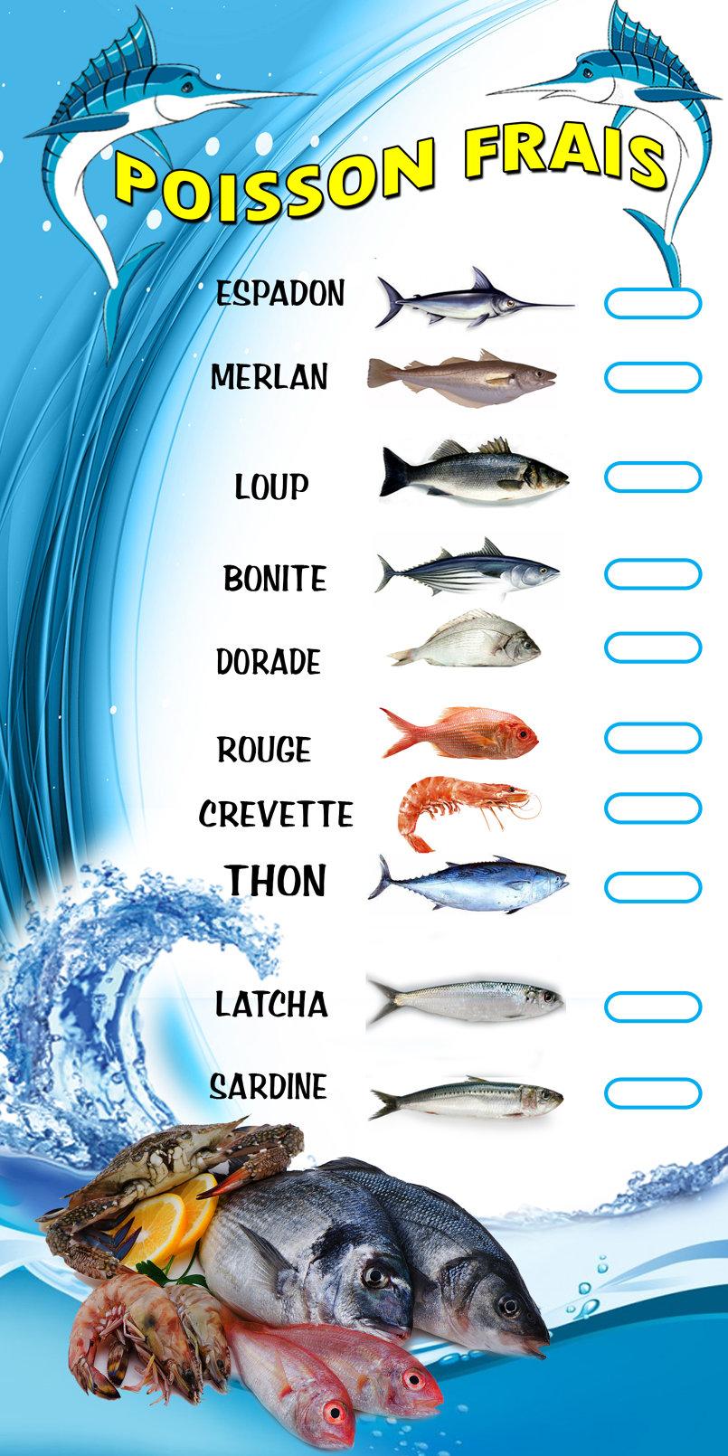 Tableaux de prix poisson