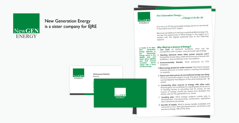 NewGen (Sister Company for EJRE) LetterHead & Business Card