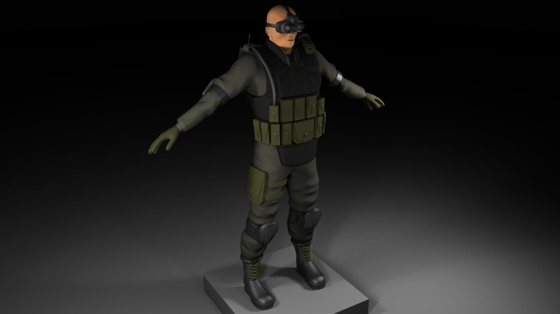 high poly soldier