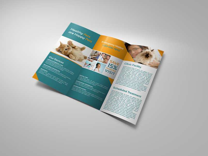 Veterinarian Clinic Tri-Fold Brochure Vol. 3
