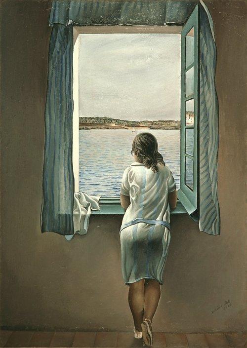 اللوحة الأصلية شخص عند النافذة
