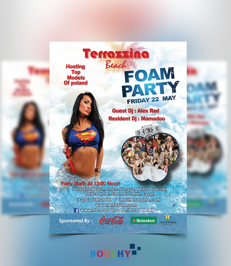 Terrazzina Foam Party Flyer