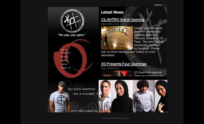 Home Page of XO Advertising Agency