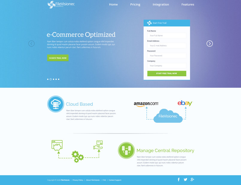 Landing page for e-commerce Software