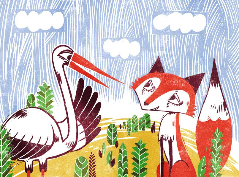 The Fox and the Stork الثعلب و اللقلق
