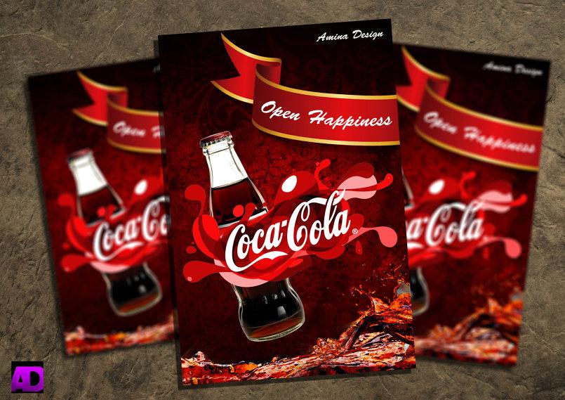 تصميم لافتة اشهارية لشركة كوكاكولا