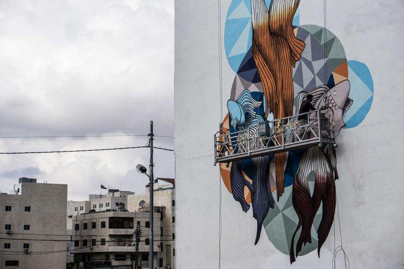 جدارية في الصويفية تم تنفيذها في معرض الفن المفتوح 2016 بالتعاون مع الفيفا  22x18 متر بارتفاع 5 طوابق