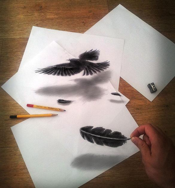 صور رائعة بالقلم الرصاص من يراها يخالها صورة متحركة ثلاثية الأبعاد