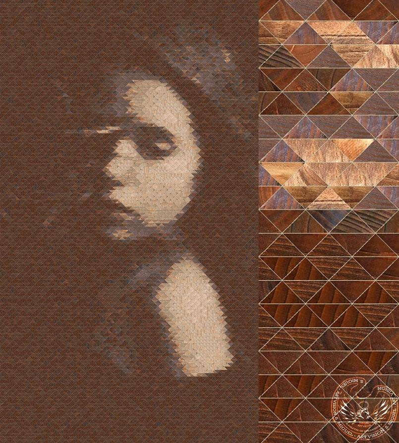 wooden skin mosaic portrait