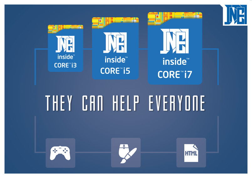 Intel CPU poster after re-branding the logo