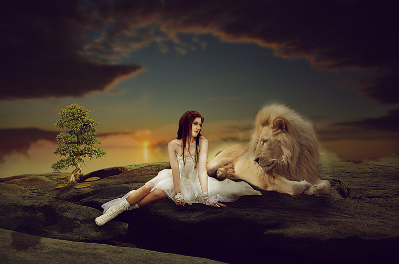 Making Girl & Lion Photo Manipulation Scene Effect In Photoshop