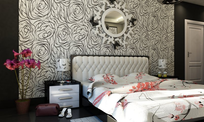 Black & white Bedroom Interior Design