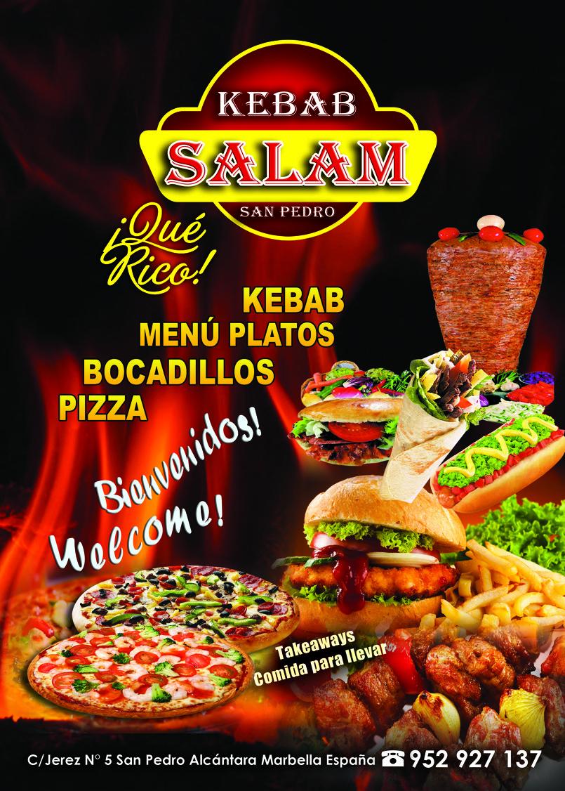 SALAM KEBAB فلاير لأحد زبنائنا باسبانيا الذي لديه مطعم للمأكولات الحفيفة