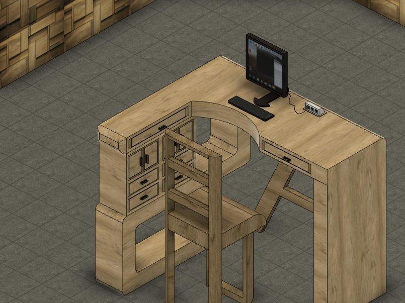 تصميم مكتب يحتوي كرسي خشبي و طاوله