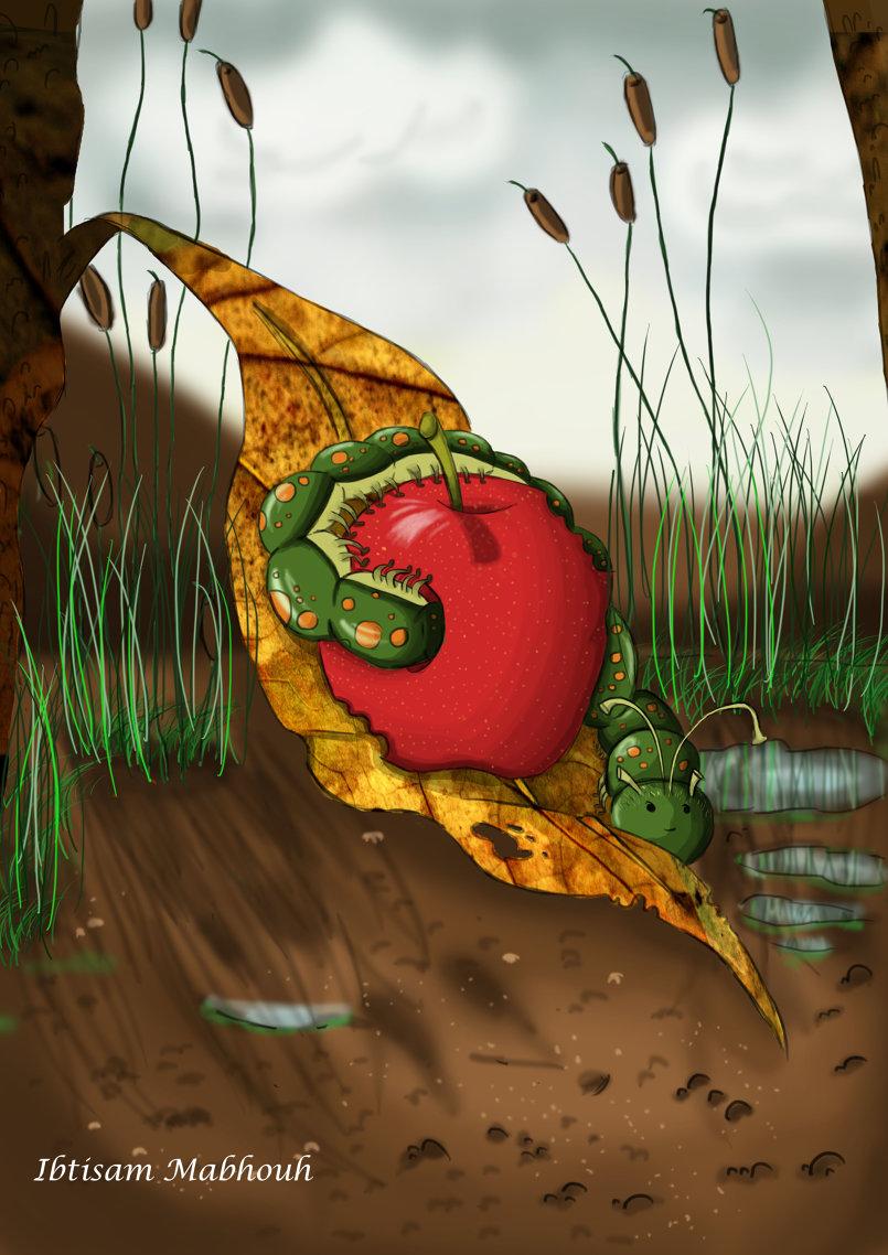 الدودة والتفاحة