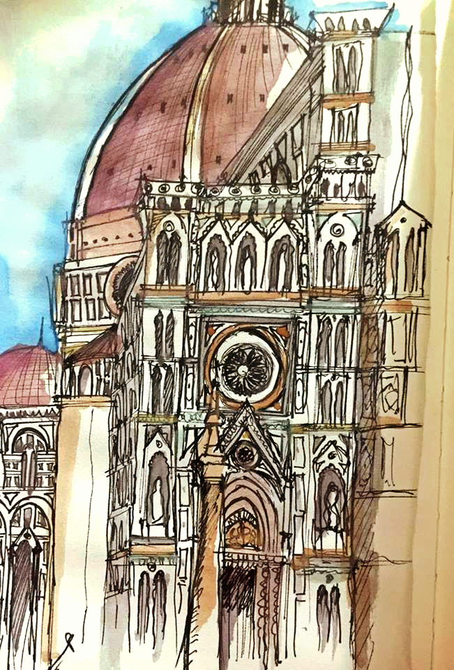 watercolor sketch, Florence