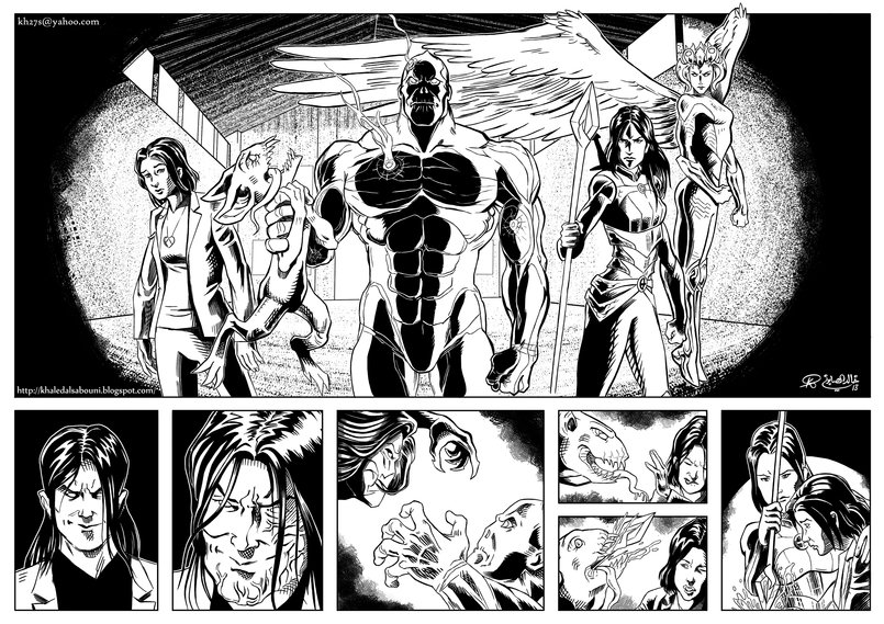 Pages 3 and 4 (double-page spread) of 4 sample pages I did for Top Cow Productions. Characters and story belong to Top Cow Productions.