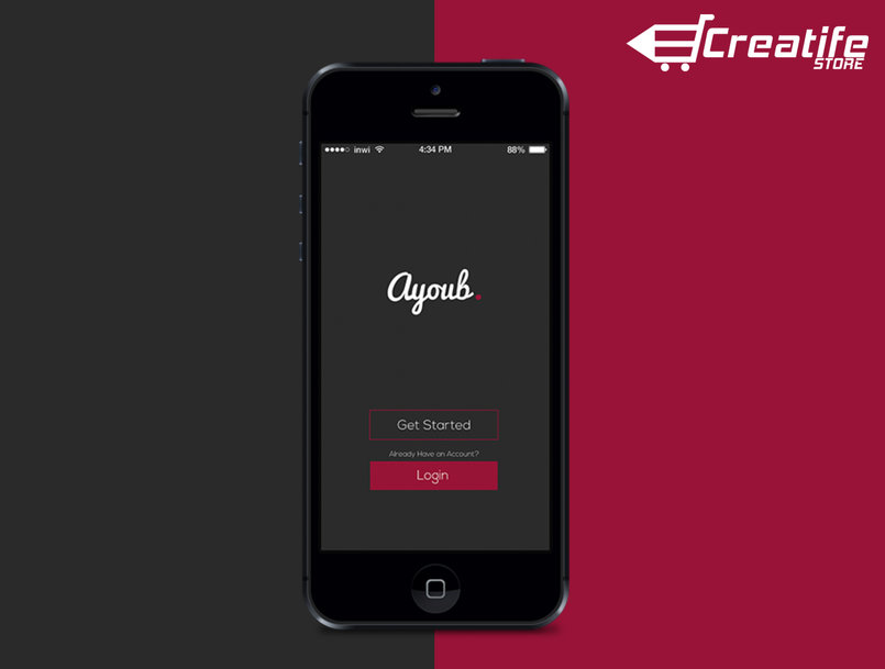 Ayoub  - Flat Mobile App UI Design +download Link - By Ayoub Kada