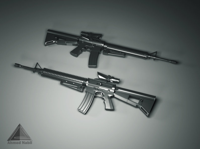 Modeling M16 weapon