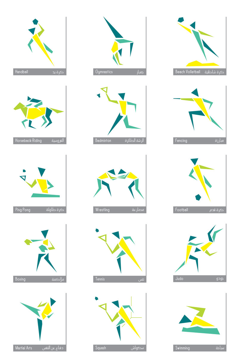 Pictograms for the various sports within the complex