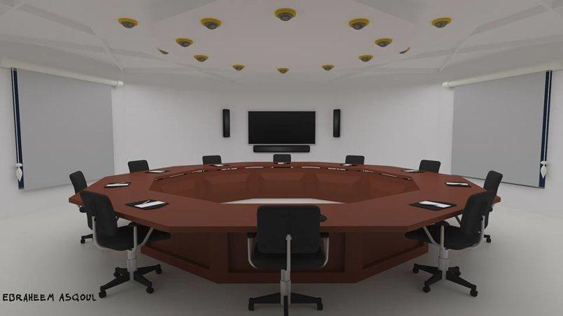 قاعة مؤتمرات واجتماعات خلال العمل على الخامات