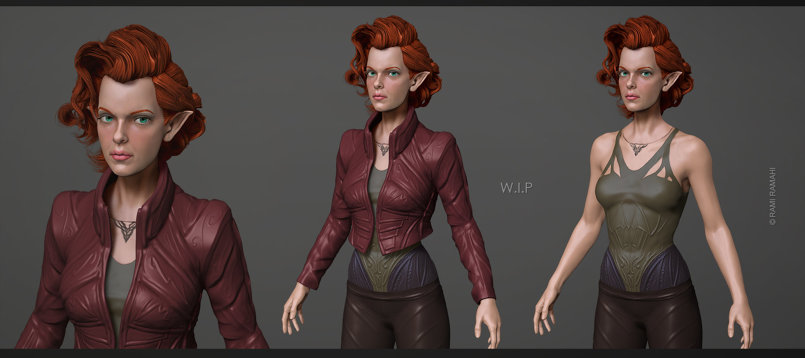 Female Assassin Elf 3d concepting