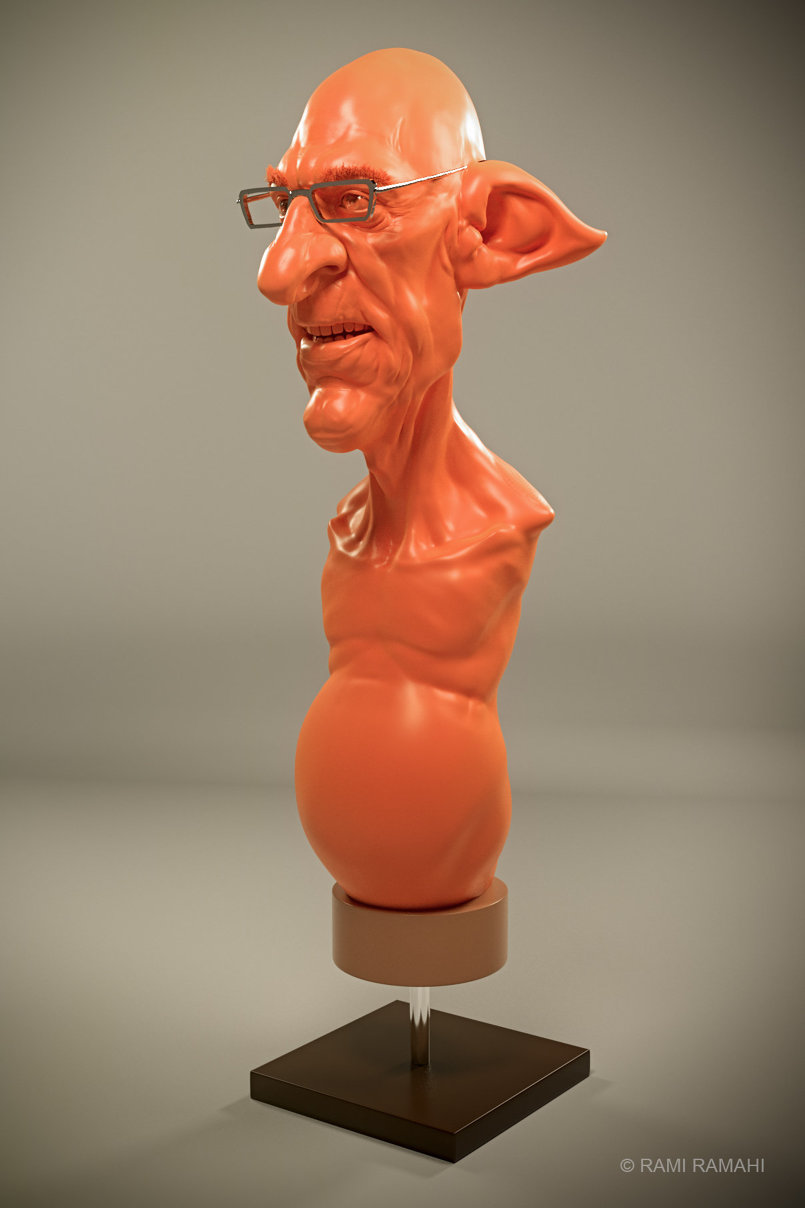 Elderly Elf bust 3d concepting