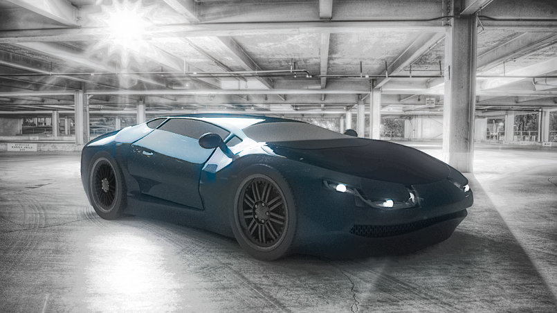 car modeling Autodesk Maya and V-ray rending