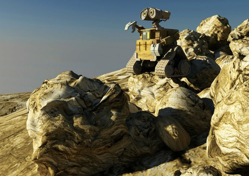 Wall-E on rocks