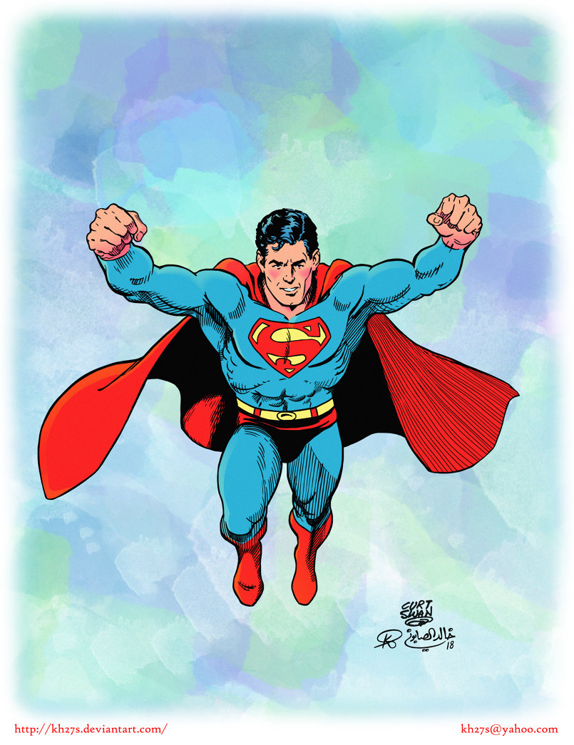 I recently found a great Superman sketch by the late Curt Swan and decided to ink and color it since I have nothing better to do these days. I colored it in a sort of retro style to give it that 70s look.  Original pencil sketch by Curt Swan: http://www.comicartfans.com/gallerypiece.asp?piece=1136898