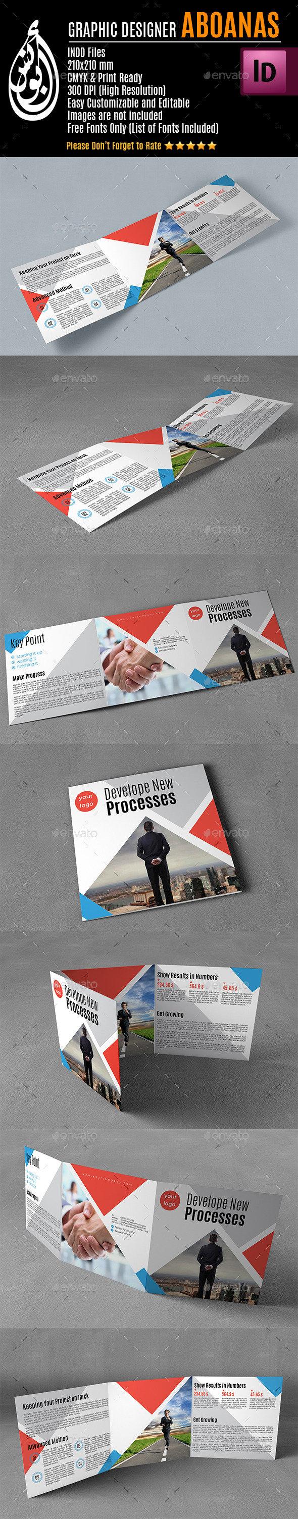 Tri-fold Square Brochure Template AA003