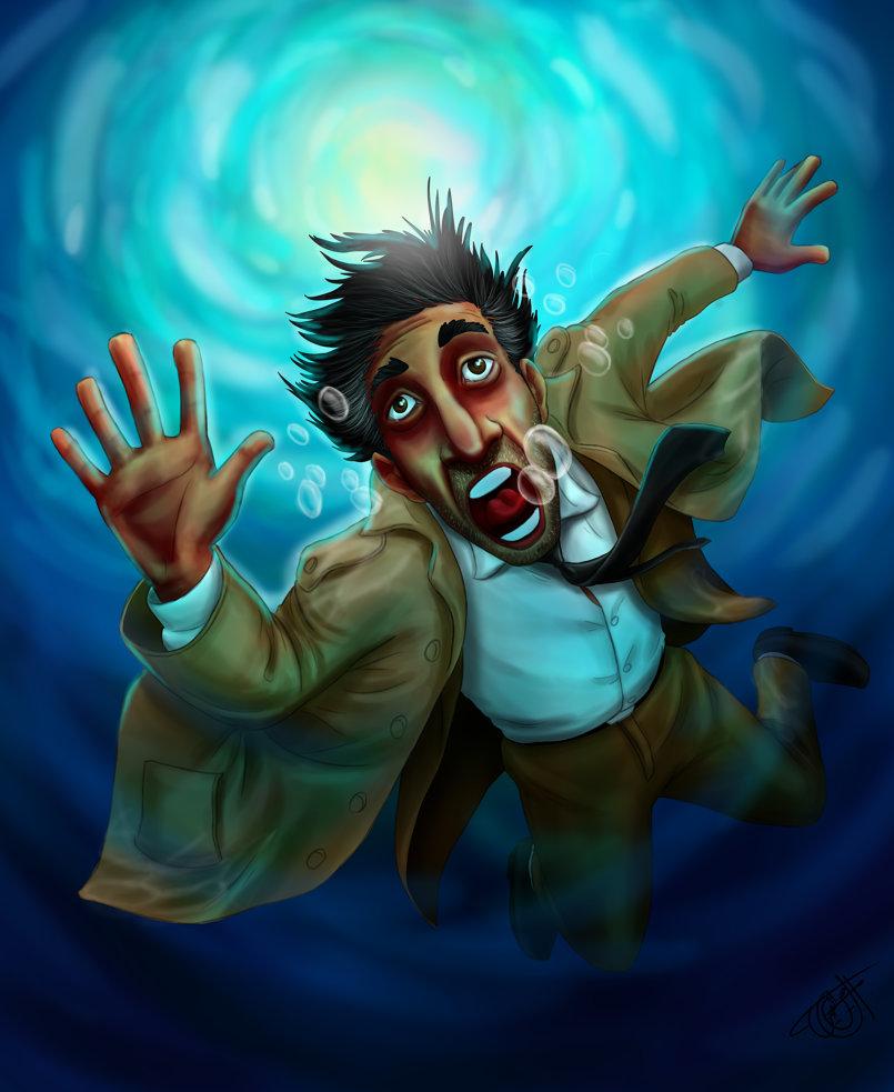 Digital drawing a man drown