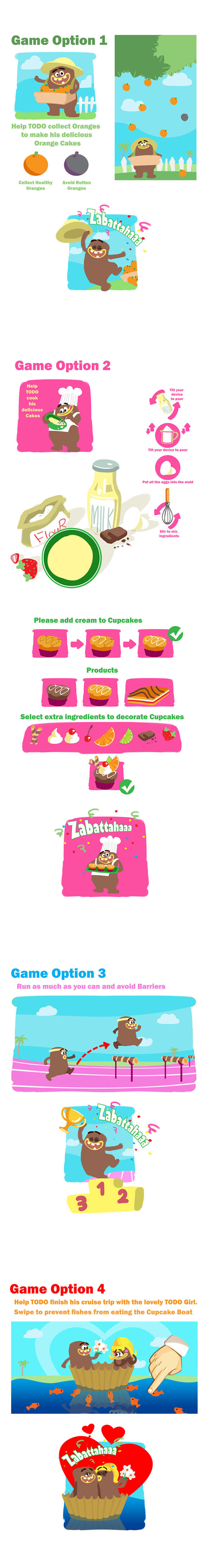Four mobile game concepts for Todo Cake