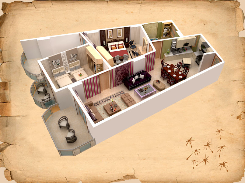3d furnished plan