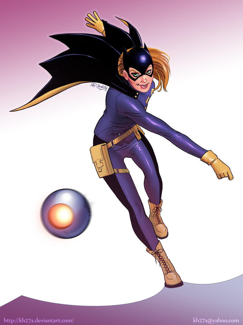 A variant of my Batgirl piece with a slightly different background.
